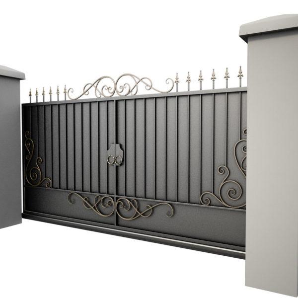 3d модель откатных ворот в Тюмени